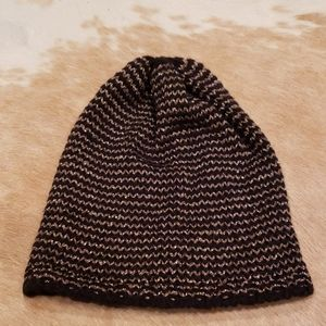 Jcrew Knit Beanie Black & Gold Hat